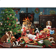 Christmas Puppies - Large Piece -