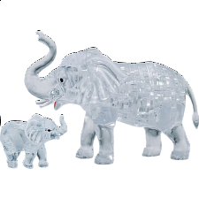 3D Crystal Puzzle - Elephant & Baby -