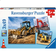Digger At Work! - 3 x 49 piece puzzles - New Items