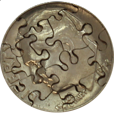 12 Piece Dime - Coin Jigsaw Puzzle - 1-100 Pieces