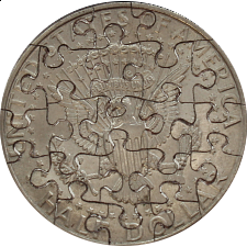 21 Piece Half Dollar - Coin Jigsaw Puzzle - 1-100 Pieces