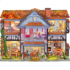 Autumn Country House - Shaped Jigsaw Puzzle - Shaped