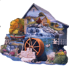 The Old Mill Stream - Shaped Jigsaw Puzzle - New Items