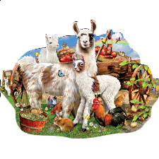 Llama Farm - Shaped Jigsaw Puzzle -
