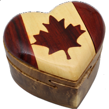 Canada Heart - 3D Puzzle Box - Wooden Puzzle Boxes