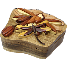 Dragonfly on Lily Pad - 3D Puzzle Box -