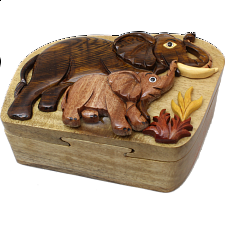 Elephant & Baby - 3D Puzzle Box - Wood Puzzles