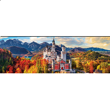 Neuschwanstein Castle in Autumn - Germany: Panoramic Puzzle -