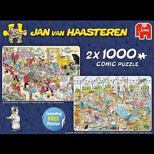 Jan van Haasteren Comic Puzzles: Food Frenzy - 2 x 1000 Pieces -