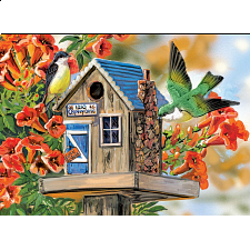 Trumpet Vines & Tree Sparrows - Large Piece Family Puzzle - 101-499 Pieces