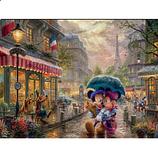 Thomas Kinkade: Disney - Mickey & Minnie in Paris - Large Piece - 101-499 Pieces