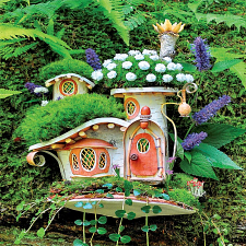 Fairy Houses: Victorian Mossy Cottage - Large Piece -