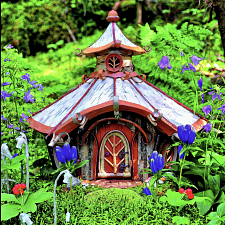 Fairy Houses: Golden Cottage in Alpine Garden - Large Piece -