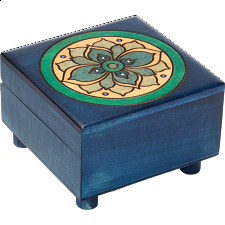 Blue Floral Puzzle Box - Puzzle Boxes