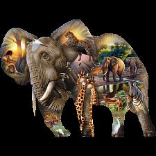 Elephant Habitat - Shaped Jigsaw Puzzle -