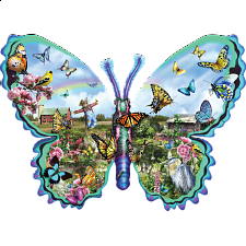 Butterfly Farm - Shaped Jigsaw Puzzle - Shaped