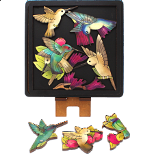 Hummingbirds - Wooden Packing Puzzle -