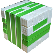 Impossible Cube 1 (Green and White) -