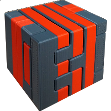 Impossible Cube 3 (Red and Gray) -