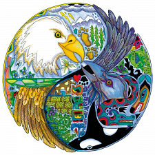 Lovebirds - Large Piece Round Shaped -