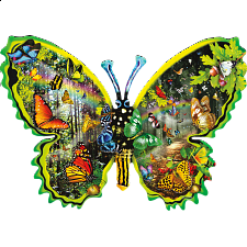 Butterfly Migration - Shaped Jigsaw Puzzle -