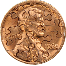 13 Piece Penny - Coin Jigsaw Puzzle -
