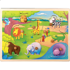 Little Moppet: Safari Animal Wooden Peg Puzzle -