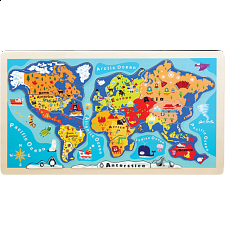 Little Moppet: World Map Wooden Tray Puzzle -
