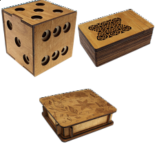 Group Special - a set of 3 Wooden Puzzle Boxes -