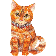 Mysterious Orange Cat - Animal Shaped Wooden Jigsaw Puzzle -