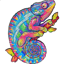 Mysterious Chameleon - Animal Shaped Wooden Jigsaw Puzzle -