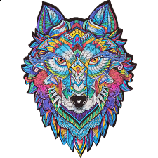 Mysterious Wolf - Animal Shaped Wooden Jigsaw Puzzle -