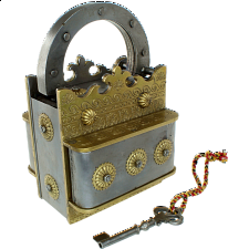 Crown Brass & Iron Puzzle Lock -
