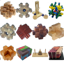 .Level 9 - a set of 12 wood puzzles -