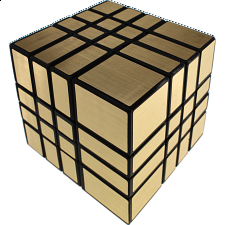 Mirror 4x4x4 Cube - Black Body with Gold Label (Lee Mod) -