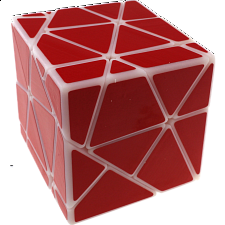 GhostZ White Body with Red Stickers (Skewb-Core + 2x2x2 Cutting) -