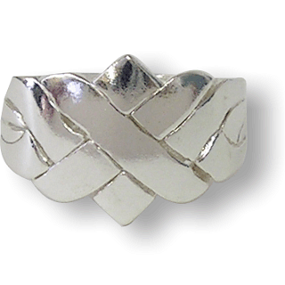 Puzzle Solution for 4 Band - Sterling Silver Puzzle Ring - X Design