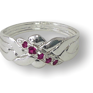 4 Band - Sterling Silver Puzzle Ring - Ruby