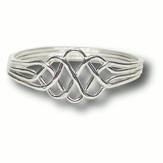 Puzzle Solution for 4 Band - Sterling Silver Puzzle Ring - Princess