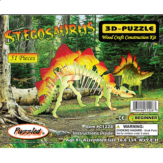 Stegosaurus - Illuminated 3D Wooden Puzzle