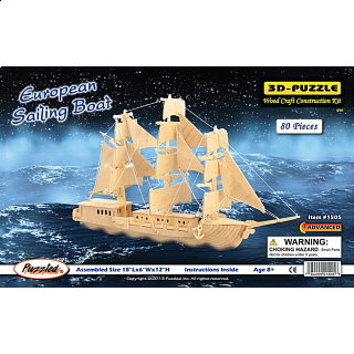 European Sailing Boat - 3D Wooden Puzzle