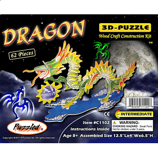 Dragon - Small - Illuminated 3D Wooden Puzzle