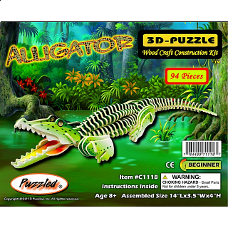 Alligator - Illuminated 3D Wooden Puzzle