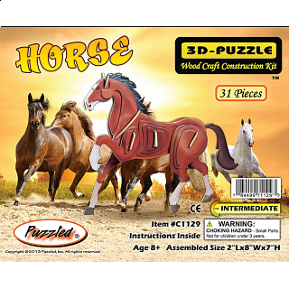 Horse - Illuminated 3D Wooden Puzzle