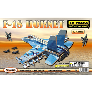 F-18 Hornet Jet Plane - Illuminated 3D Wooden Puzzle