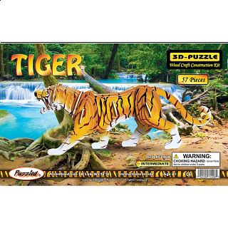 Tiger - Illuminated 3D Wooden Puzzle