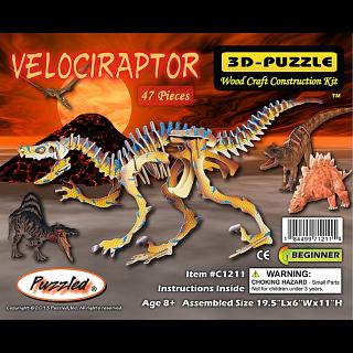 Velociraptor - Illuminated 3D Wooden Puzzle