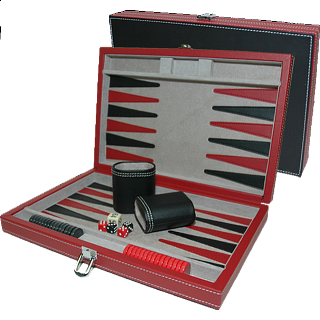 12 inch Backgammon Set - Black and Red Leatherette