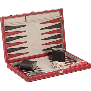 15 inch Backgammon Set - Black and Red Leatherette