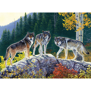 Masterpieces 71021 Fall Wolves Jigsaw Puzzle - 1000 Piece